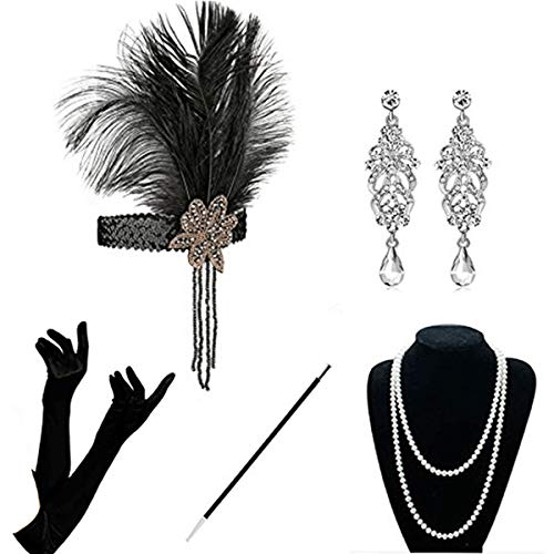 KQueenStar 1920er Jahre Zubehör Set Flapper Kostüm Accessoires für Damen 20s Gatsby Jahre Stirnband Kopfschmuck Ohrringe Perlen Halskette Handschuhe Zigarettenspitze, Black Set, one_size