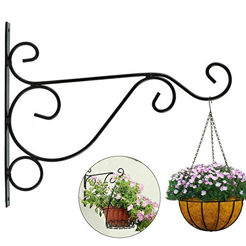 Soportes para plantas de pared, soportes para cestas colgantes de jardín, linternas, macetas, soportes de flores, jaulas de pájaros y soportes decorativos de hierro. (negro)