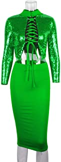Green Hologram Women's Two Ways Sequin Bodycon Two-Piece Suit Party Dress (L)