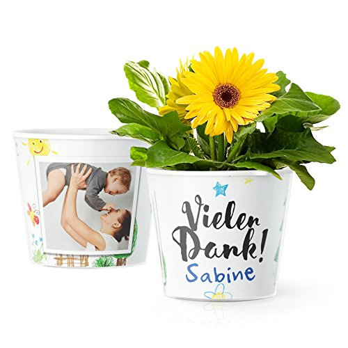 MyFacepot Vielen Dank! Blumentopf (ø16cm) | Geschenk für Kindergarten Erzieherin Abschied, mit Rahmen für 2 Fotos (10x15cm)