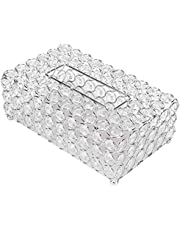 Buachois Caja de PañUelos Decorativa de Cristal, Soporte para Servilletas, Caja de Pañuelos Rectangular para Baño, Soporte, Mesa de Escritorio, Plata