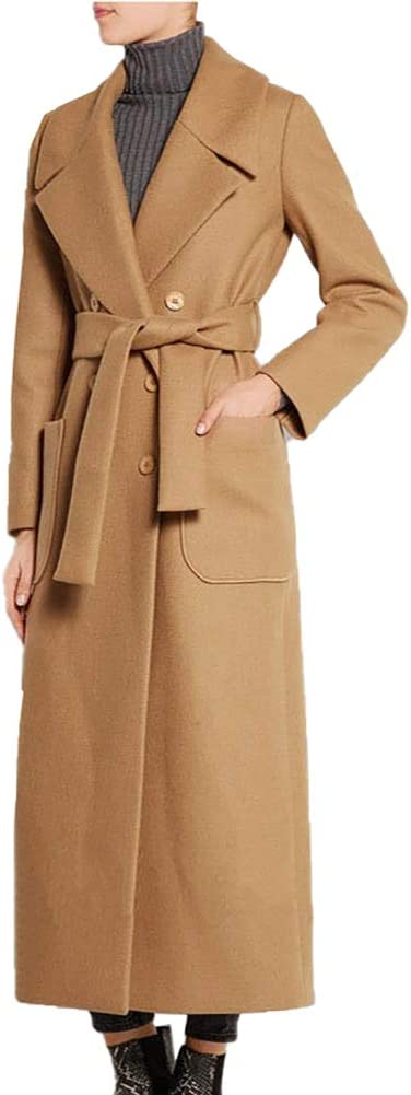BIXUYAO Women's Double Breasted Jacket/Cotton Blend Pea Coat Winter Outdoor Long Section Plus Size Coats,Camel,M