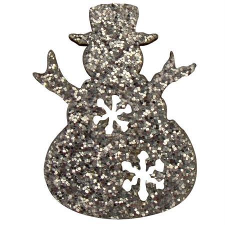 1 lot de 12 bonhommes de neige pailletés adhésifs - Hauteur +/- 25 mm