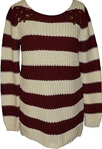 Pullover Streifenpullover von AJC - Bordeaux / Weiß Gr. 44/46