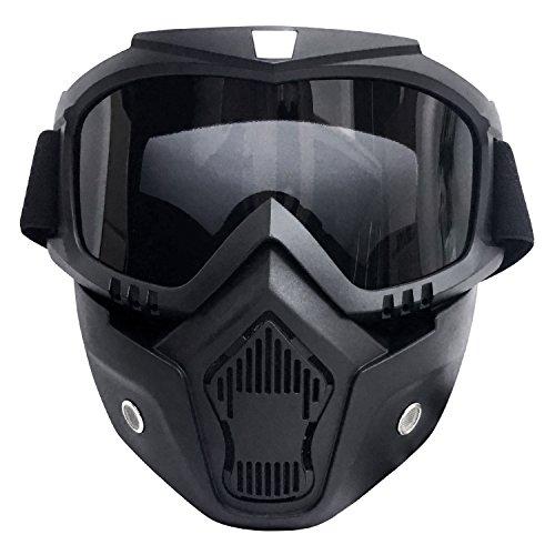 OMA サバゲー ゴーグル フェイス マスク フルフェイス ガード 取り外し可能 サバイバルゲーム 装備 ツーリング バイク モトクロス 保護 スモーク 軽量 防塵 防風 (黒×ブラックレンズ)