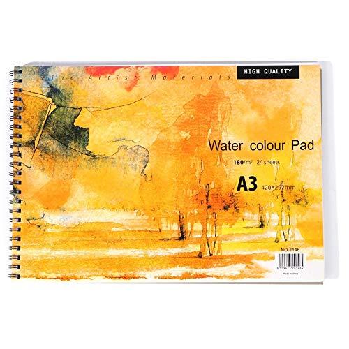 Cikonielf Cuadernos de bocetos de Acuarela A3, Cuaderno de Tapa Dura, Almohadilla de Pintura, Almohadilla de Papel de Acuarela para Acuarelas, Pintura, Dibujo, bocetos