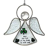 Irish Angel Suncatcher - Stained Glass Sun Catcher with Green Shamrock Designs - May The Luck of The...