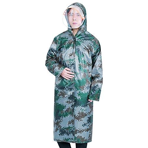 Huifang Vêtements de pluie QFFL Imperméable Transparent Double Cap Trench Coat Imperméable Long Camo Adulte Poncho Unique Randonnée Extérieure Imperméable Taille en Option imperméable (Taille : XXL)