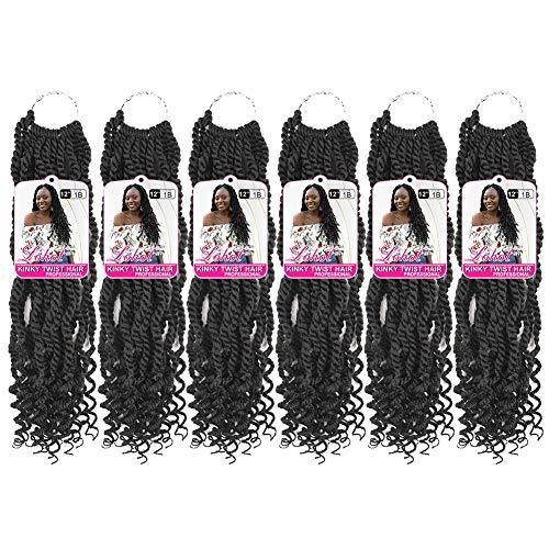 6 Packs Wavy Senegalese Twist Crochet Hair Goddess Crochet Hair Braids 12 Inches Curly Ends Deep Kinky Twist Braids Hair 18 Strands/Pack Synthetic Kanekalon Wavy Crochet Braid Hair Extensions (1B)