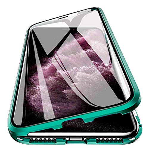 iPhone 11 6.1 inch Magnetic Case, 360° Tempered Glass Shockproof Magnetic Adsorption Metal Bumper Flip Cover (Greem) Green