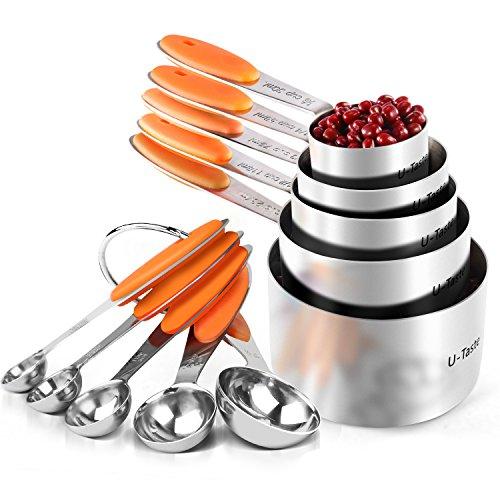 U-Taste Messbecher Set 18/8 Edelstahl 10 Stück, 5 Messbecher+5 Messlöffel Backen Kochzubehör zum Kochen Backzubehör mit Verbesserte Dicke Silikon Griffen(Orange)