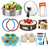 Accessories Set Compatible with Instant Pot 6 QT, with Tempered Glass Lid Sealing Rings and 2 Steamer Basket for Instapot 6 Quart