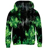 uideazone Teen Boy Young's Hoodie All Over 3D Printed Graphic Blue Colorful Smoke Fire Hoodie Sweatshirt for Casual Party School Winter