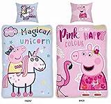SkyBrands Peppa Pig Parure de lit en Coton 2 Motifs Licorne Rose 135 x 200 cm 80 x 80...