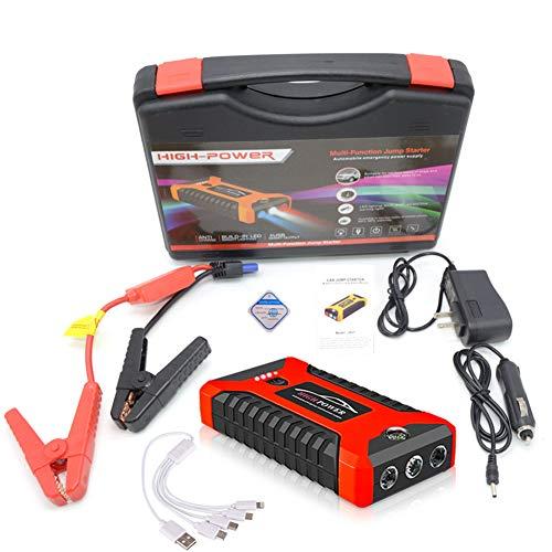 DOOK Multifunktions Starthilfe Powerbank 18000/99800mAh 12V 4 USB Auto Starthilfe Booster Ladegerät Batterieleistung Bank mit DREI-Licht-Modus Anzug für die meisten Cartypes,Rot,99800Mah