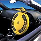 Disklok Steering Wheel Full Cover Silver Security Lock Police Approved (Yellow, Small, 35cm - 39cm)