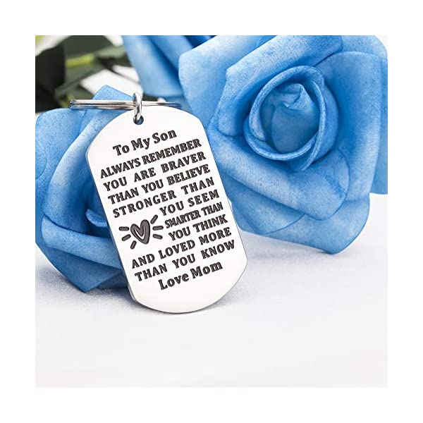 Son Keychain, Son Gifts from Mom, 2021 Graduation Gifts for Son from Mom Inspirational Key Chain Keyring Jewelry for Teen Boys Birthday Gifts – Always Remember You Are Braver Than You Believe