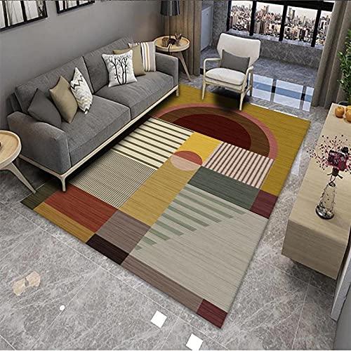 CLYDX Alfombras Salon Habitación Alfombra Pasillo Lavables Rug Dormitorio Sala de Estar Alfombra Antideslizante Alfombra para el Juego de los niños Decora el 60x90 cm (Geometría de Color)