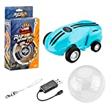 TOYANDONA Micro Racers 360 Degree Rotating Pocket Rc USB Charging with Led Light Glow in The Dark Car Racing Model for Girls Boys Keychain Cars Balls Blue