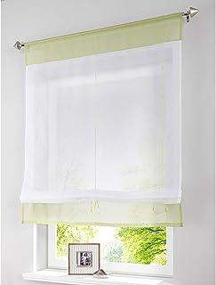SIMPVALE - Cortina Visillos Transparente para Ventana de Cocina, Baño, Balcón, 1 Unidad, Verde, 80x140cm