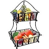 Urban Deco Fruit Basket 2 Tier Fruits And Vegetable Storage – Kitchen counter Display Stand Storage Baskets – Metallic Black Bread Fruit Vegetable Organizer Rack