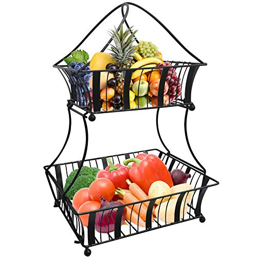 Urban Deco Fruit Basket 2 Tier Fruits And Vegetable Storage – Kitchen counter Display Stand Storage Baskets – Metallic Black Bread Fruit Vegetable Organizer Rack