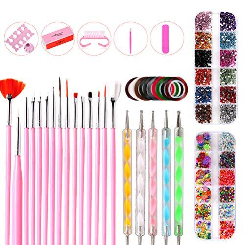 TYTOGE 10 pcs Nail Art Outils Set avec Nail Peinture Brosses Nail Dotting Pen Strass
