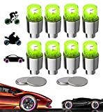 Yinch New Led Bike Wheel Lights Car Tire Valve Cap Bicycle Motorcycle Tyre Spoke Flash Lights Waterproof Valve Stems Caps Accessories for Men Women Kids with 10 Extra Batteries (Green-8PC)