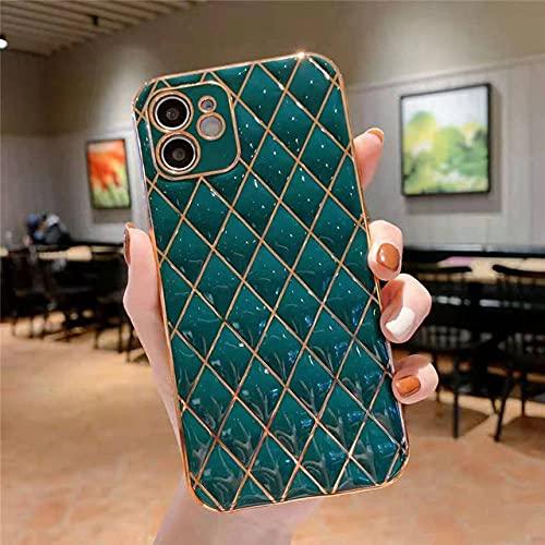 Estuche de teléfono Suave con Revestimiento geométrico de Lujo para iPhone 12 11 Pro MAX X XR XS MAX 7 8 Plus SE 2020 Carcasa Trasera de Silicona Brillante, T3 Verde Oscuro, para iPhone 12Mini