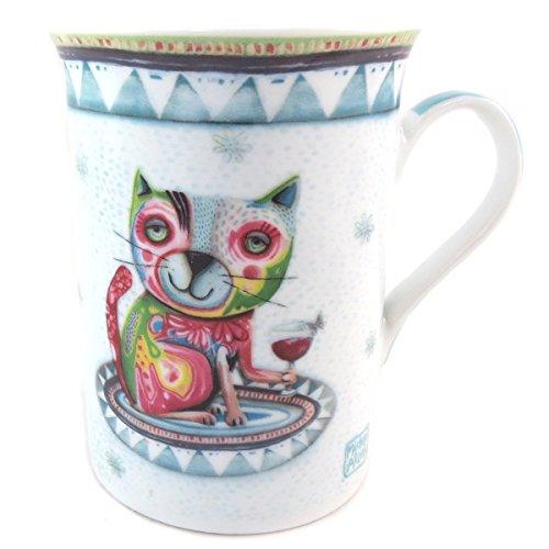 Allen Designs [P9907 - Mug Porcelaine Bleu Vert Multicolore (Chat vin)