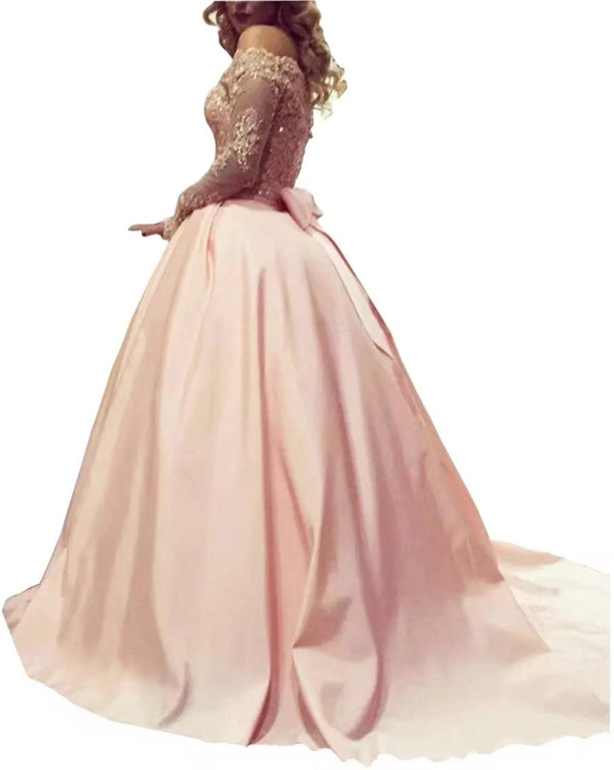 YOUTODRESS Plus Size Prom Dresses with Sleeves bluesh Pink Off The Shoulder Lace Ball Gowns