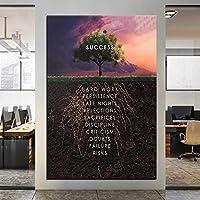 マインドセットツリーの成功インスピレーションを与える引用キャンバス絵画写真ポスターリビングルームの家の装飾のための壁の芸術を印刷する-60x90cm(フレームなし)