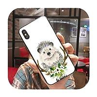 動物の頭を身に着けている花ハリネズミ牛犬キツネソフトシリコーン電話ケースfor iPhone X 11pro MAX 8 7 6SplusXS MAX 5S SE XRケース-A9-for iPhone x or xs