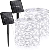 2-Pack TOBUSA 144Ft Outdoor Solar String Lights with 8 Lighting Modes