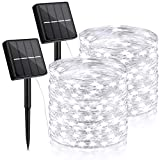 2-Pack Each 72ft 200 LED Solar Lights Outdoor String (Ultra-Bright & Extra-Long), Upgraded Solar Christmas Lights, IP65 Waterproof Copper Wire 8 Modes Solar Powered Fairy Lights(Daylight White)