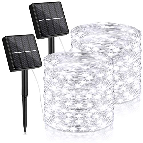 Outdoor Solar String Lights Waterproof 144Ft, 2-Pack Each 72FT 200 LED Solar Powered Fairy Lights with 8 Lighting Modes, Cooper Wire Lights Decorative for Patio, Garden, Party, Wedding(Daylight White)
