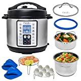 Yedi 9-in-1 Total Package Instant Programmable Pressure Cooker XL, 8 Quart, Deluxe Accessory kit, Recipes, Pressure Cook, Slow Cook, Rice Cooker, Yogurt Maker, Egg, Sauté, Steamer, Stainless Steel