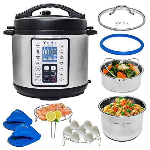 Yedi 9-in-1 Total Package Instant Programmable Pressure Cooker, 6 Quart, Deluxe Accessory kit, Recipes, Pressure Cook, Slow Cook, Rice Cooker, Yogurt Maker, Egg Cook, Sauté, Steamer, Stainless Steel