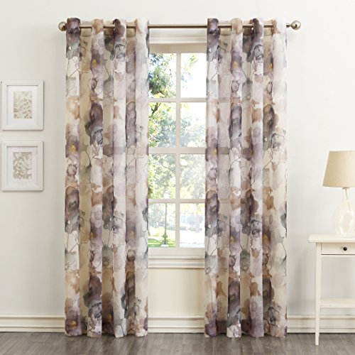 No. 918 Andorra Watercolor Floral Crushed Texture Sheer Voile Curtain Panel, 51' x 84', Mulberry