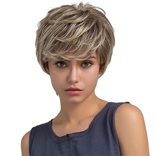 MagiDeal 26cm Perruque Femmes Courte Blonde Bouclée Naturelle en Vrais Cheveux Humain Fashion pour Usage Quotidien et Cosplay