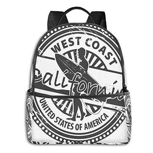 "School bag Double black Backpacks,West Coast California United States Of America Grunge Vintage Stamp Print,Casual Hiking Travel Daypack 12""5""14.5""(LWH)"