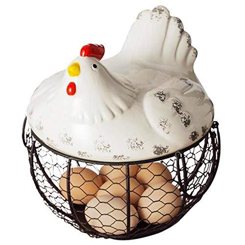 ZRR - Cestino per uova in ferro, per snack e frutta, collezione Hen Oraments Con gallina