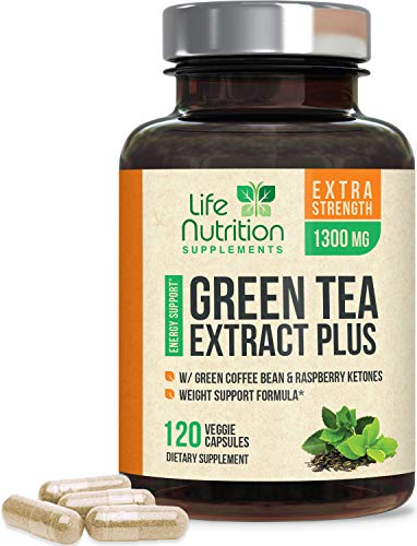 Green Tea Extract 98% Standardized Egcg for Natural Weight Support 1300mg - Supports Heart Health, Metabolism, Energy with Antioxidants and Polyphenols - Gentle Caffeine, Made in USA - 120 Capsules