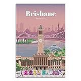 Vintage-Reise-Poster Brisbane, Leinwand-Kunst, Poster,