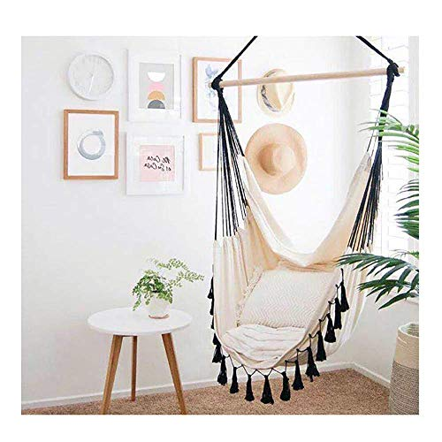 LIUJIE Hangstoel hangstoel witte hangmat draaibare stoel, outdoor schommelstoel, zwarte Scandinavische naden met hangmat Romantische Kant Fringed