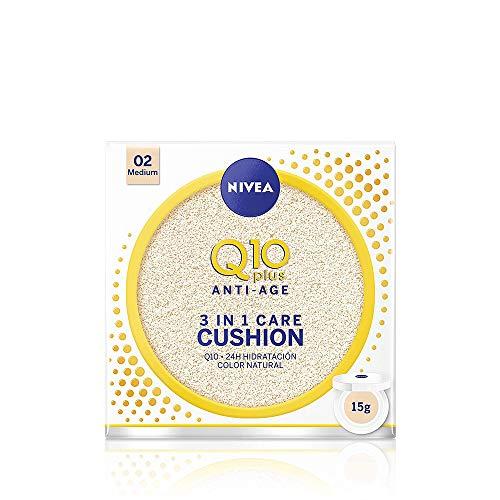 NIVEA Q10 3en1 Cushion, Perfeccionador Facial Hidratante y Antiedad con Protector Facial, Tono 02 Medio - 15 gr