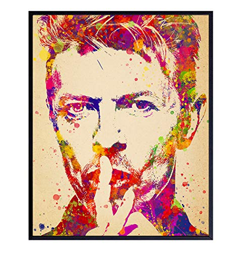David Bowie Poster - Cool Psychedelic Wall Art Home Decor for Living Room, Bedroom, Dorm - Cool Unique Gift for Punk Rock, 80s Music Fans, Musicians - 8x10 Original UNFRAMED Pop Art Print