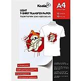 KOALA Papel de transferencia de tinta para camisetas de blancas y claras, 10 hojas, A4