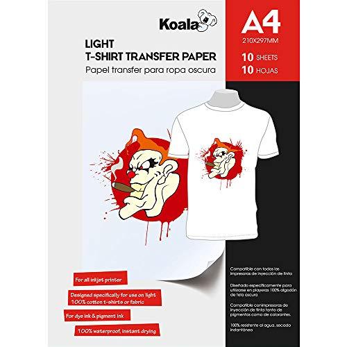 KOALA 10 fogli, A4, Carta da stiro per Termoadesiva trasferimento di maglietta e tessuti di colore chiaro, adatta per stampanti a getto d'inchiostro.