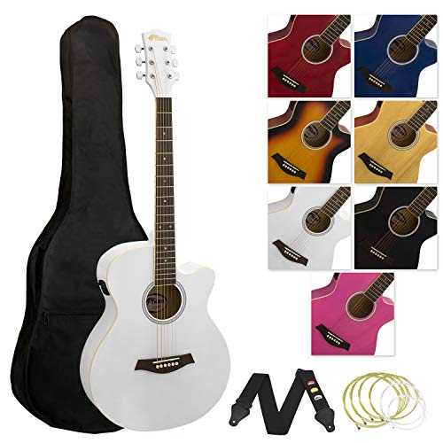 Tiger elektrische akoestische gitaar met ingebouwde tuner en equalizer Met equalizer en tuner. Volle Größe wit